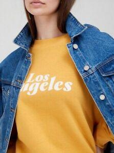 V by Very Front Print Slogan Los Angeles Sweatshirt Mustard Size 18 BNWT