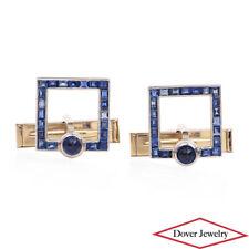 Vintage Retro Blue Sapphire 14K White Gold Square Cufflinks 9.3 Grams NR