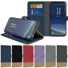 Tasche für Samsung Galaxy Jeans Case Handy Hülle Schutz Cover Book Etui Wallet