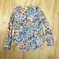 MAEVE Anthropologie London Street Map Cartography Blouse Shirt Top Women's 2 /XS