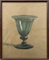 Antiguo Farbzeichnung Verdosa Vidrio Estilo Moderno Anonym 39,5 x 32cm