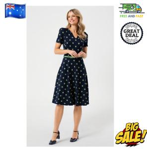 New Review Women's Going Dotty Dress Navy Green Spot V-Neckline BNWT Size 10