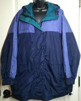 Columbia Sportswear Women's Full-Zip Snap Hooded Jacket Coat Blue Teal Size L