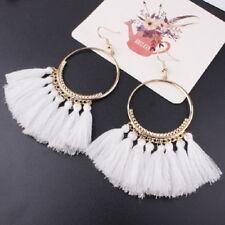 Gold Hoop Earrings with Fringe Tassels Boho Sexy White or Peach Fringing So HOT