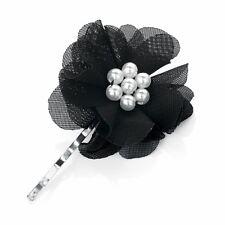 Petite perle noire Organza Fleur Centre cheveux grip glisser clip pin-Accessoires