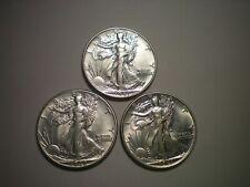 1941 AU, 1942 AU AND 1943  AU-BU WALKING LIBERTY HALF DOLLAR