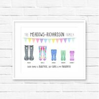 Personalised Family Wellies Print! Family Welly print! Welly Boot Print!