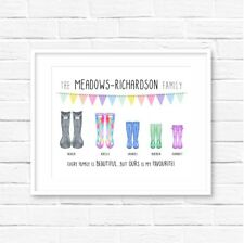 Personalised Family Wellies Print! Personalised Family print! Welly Print!