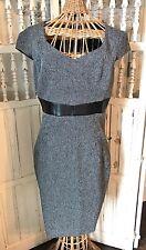 H&M Women's Dress Sz 8  Cap Sleeve Empire Waist Black Tweed Career