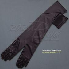 "23.5"" Long Shiny Stretch Satin Dress Gloves Opera Length 16BL - Various Colors"