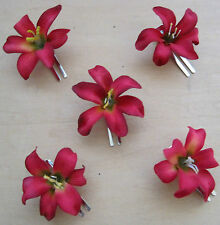 "5 Piece Lot Small 2"" Red Lily Silk Flower Hair Clips, Wedding, Prom, Dance,Luau"
