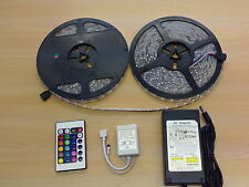 15M Waterproof 3528 RGB LED Strip Light 60LEDs/m Multi-Color+IR Remote+UK Power