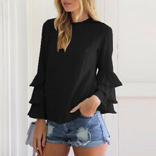 Women Ruffle Long Sleeve Blouse T-shirt Summer Casual Loose Tee Tops Plus Size