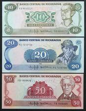 NICARAGUA - Set of 3 Notes - 10 20 50 Cordobas 1985 - P 151 152 153 (UNC)