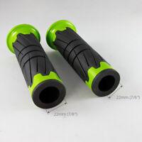 "handlebar grips fits Kawasaki KFX 50 90 400 450 ATV 22mm 7/8"" x2 black & green"