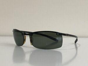 Ray Ban RB 8305 082/9A Wrap Carbon Black Green Polarized Sunglasses 64-14 3P
