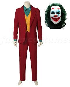 Mens 2019 Movie Clown Fancy Dress Costume Deluxe Halloween Joker Suit Costume