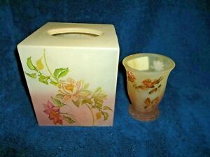 CROSCILL RIDGEWOOD FROSTED GREEN ROSE FLORAL (2P) TISSUE BOX COVER & CUP/TUMBLER