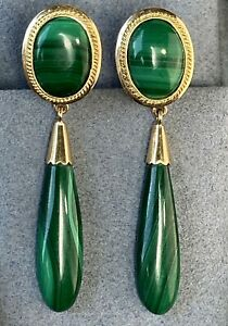 14K Yellow Gold Carved Malachite Cabochon Vintage Earrings Large Teardrop Dangle