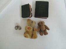 Antique Small Doll Accessories - Earrings, Books, Bears