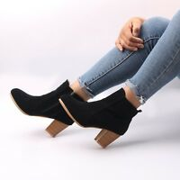 Autumn Winter Boots Women High Heels Female Suede Ankle Zipper Short Boots NEW