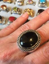 """NEW Gorgeous """"designer inspired"""" Large Round Onyx Black CZ Chunky Ring Size 9"""