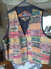 VINTAGE LEATHER VEST CAR TAGS EXCELLENT COND MADE IN INDIA TWO-ONE-TWO 2.0.2 MED
