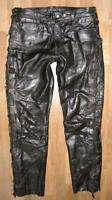 "Fat Polo Men's Lace-Up Leather Jeans / Biker Trousers Size L Approx. W35 "" / L33"