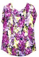 Liz Claiborne Women's Large Rayon/Spandex Blend Short Sleeve Floral Top Purple