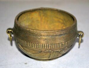 Vintage Brass Hand Carved Old Rice Bowl Offering Beautiful Serving Bowl Rare