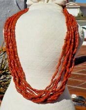 VINTAGE CORAL LOOK GLASS BEAD LADIES MULTI  STRAND NECKLACE HAND MADE FREE SHIP