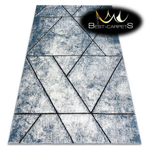 Amazing Designer structural soft Rug 'COZY' Wall geometric blue Best Quality