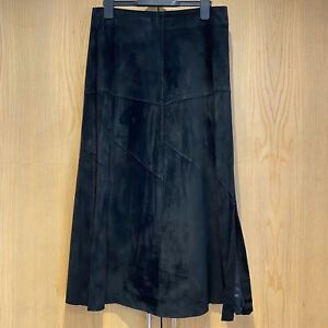 Oasis Black Real 100% Suede Leather Midi Lined Skirt 8 Side Slit Autumn Winter