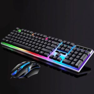 PRO Gaming Keyboard & Mouse Set Bundle Wired USB LED Rainbow Colour PC XBOX PS4