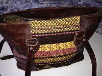 Ladies Genuine Dark Brown Camel Leather Shoulder Fashion Handbag With Motif