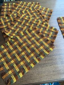 Vintage Set Of Six Woven Wool Placemats Table Mats