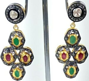 925 Sterling Silver Natural Polki Pave Emerald Ruby Handmade Jewelry Earring