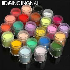 24 Color 3D Jumbo Fine Shiny Glitter Nail Art Kit Acrylic UV Powder Dust Tip New