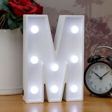 Light Up Letter M - White Marquee Letters 23cm LED Wooden Letter Lights Sign A-Z