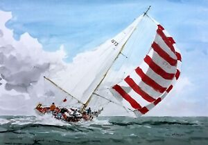 691 Catching the Wind - LARGE Sailing Yachting Seascape Ken Hayes