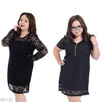 Womens / Ladies Black Lace Dress Size 14 16 Short Sleeve
