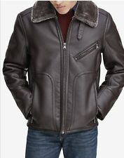 MARC New York Mens XL Large Brown Leather Sherling Jacket .