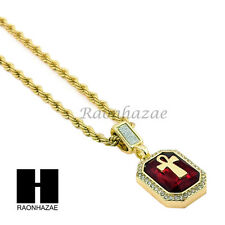 """MENS HIP HOP ICED OUT RUBY MINI ANKH CROSS PENDANT 24""""  ROPE CHAIN NECKLACE D005"""