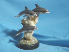 "Pod of Three Dolphins and Coral Marine Sculpture Nautical  9""  New"