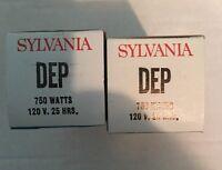 2 Two Sylvania Projector Bulb DEP Lamp Bulb  750 Watts NEW OLD STOCK IN BOX!