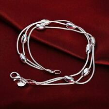 925 Sterling Silver 3 Strand Teardrop Charm Bracelet Bangle Adjustable 18cm