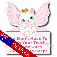 Cat Fairy Brush your Teeth Reminder Wall Safe MOVABLE Sticker