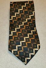 Kilburne And Finch Mens Silk Tie Geometric Squares Pattern Brown Black Beige