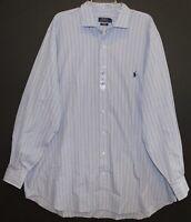 Polo Ralph Lauren Big & Tall Mens Blue Striped Button-Front Dress Shirt NWT 2XLT