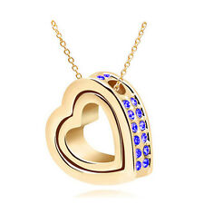 NEW Women Double Heart Blue Crystal Gold Charm Pendant Chain Necklace OB4S4